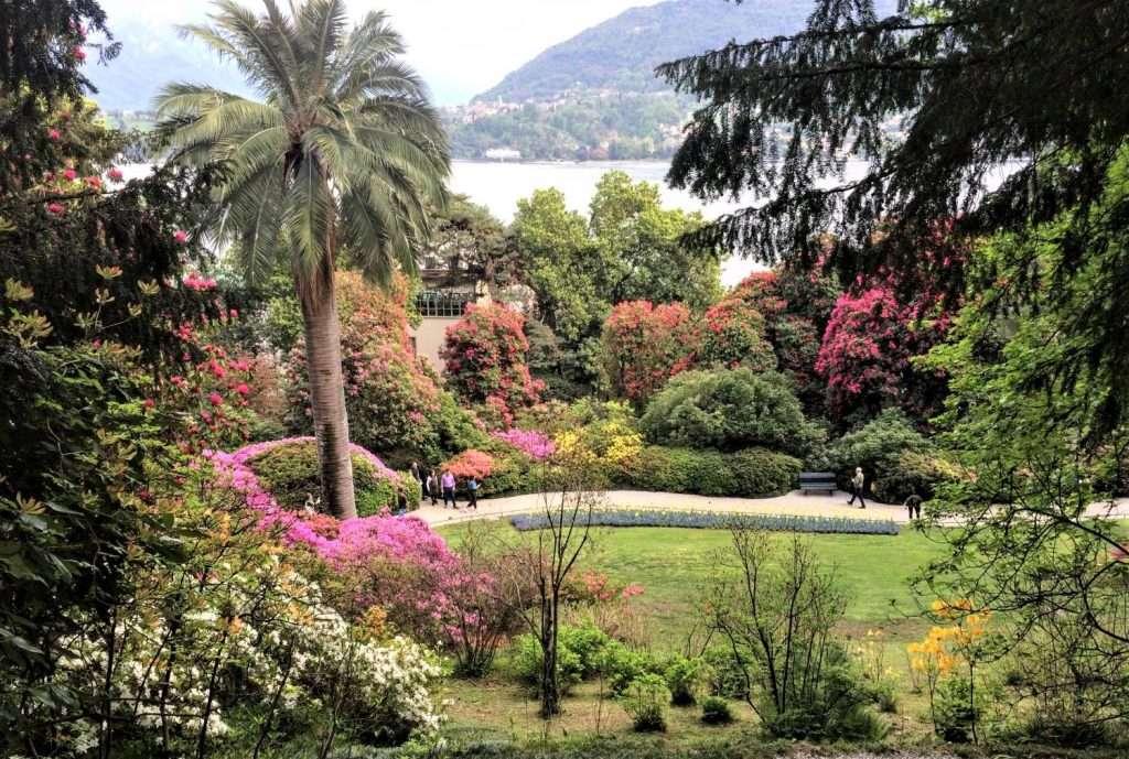giardino in fiore sul Lago di Como
