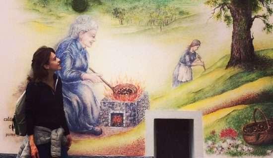 io che guardo un dipinto del borgo di Claino con Osteno