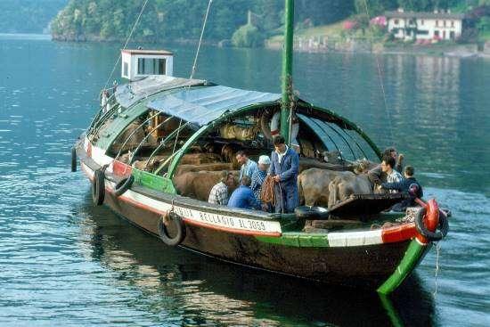 transumanza sul Lago di Como con gondola